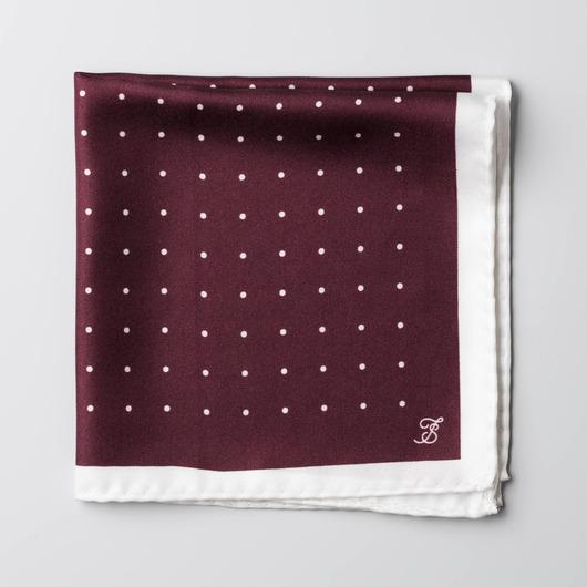 Maroon en wit, zijden zakdoek