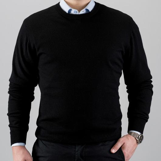 Merinovillainen pusero crewneck-kauluksella, musta