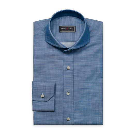 Blue slim fit chambray shirt