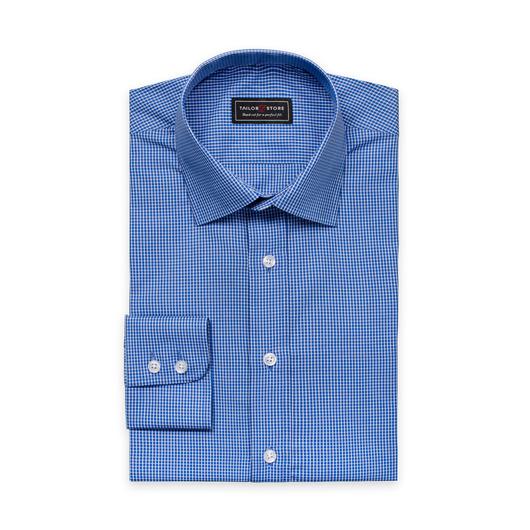 Blå/Hvitrutete poplinskjorte