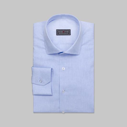 Lyseblå skjorte med cut-away krave i bomuld/hør
