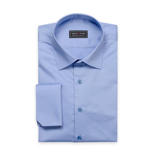 Blauw overhemd van katoensatijn