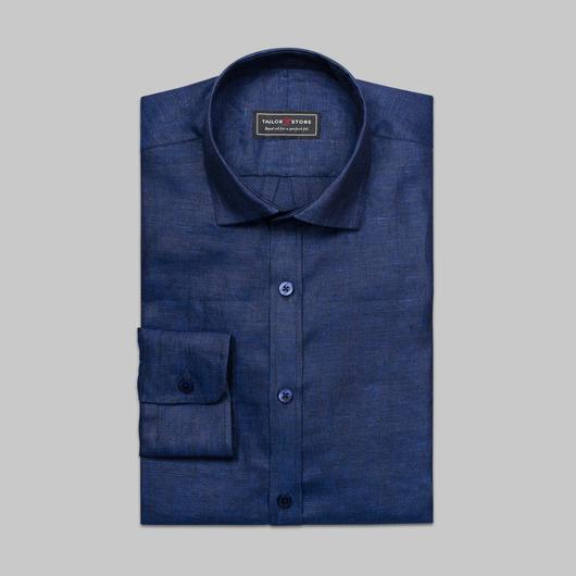 Marineblå linskjorte