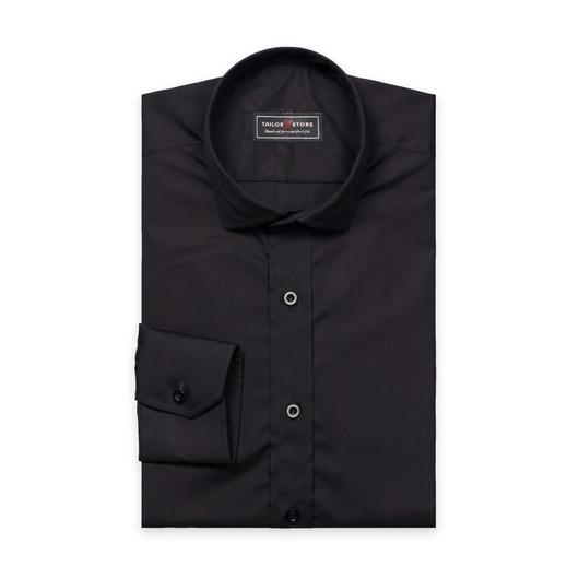 Black poplin cut-away casual shirt