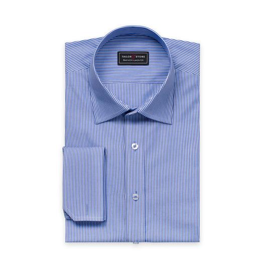 Vit/Blårandig poplinskjorta med business classic-krage