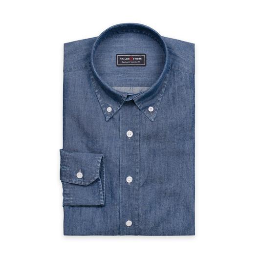 Mørkeblå denimskjorte