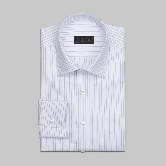 White/blue striped organic cotton shirt