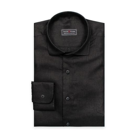 Chemise noire en lin avec un col cut-awau casual