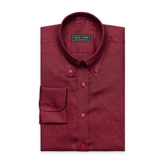 Rød hørskjorte med button-down classic krave