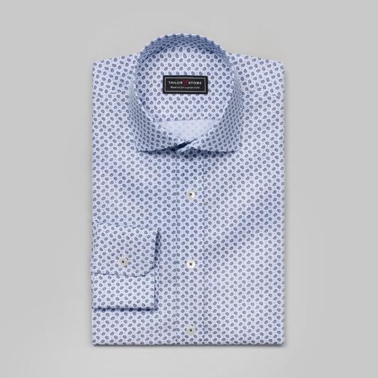 Patterned cut-away classic cotton shirt