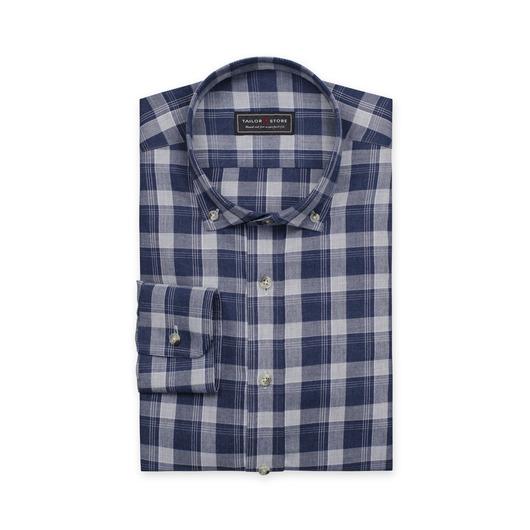 Blå/ljusgrårutig skjorta i bomull