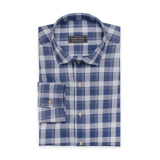 Rutig lätt flanellskjorta i grått och mörkblått