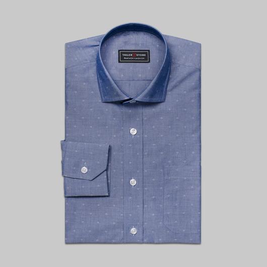 Dark blue cotton dress shirt in dobby