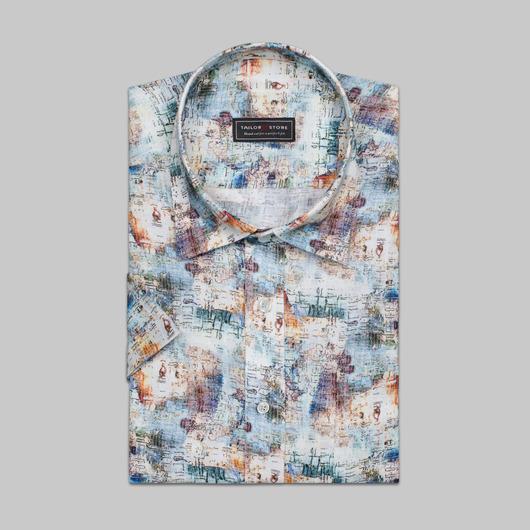 Mönstrad flerfärgad linneskjorta