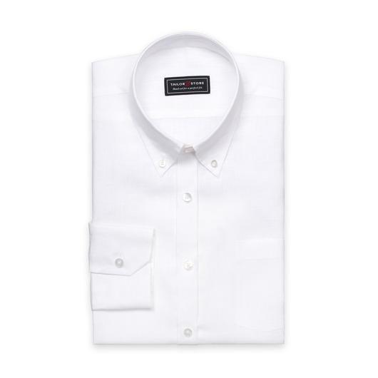 Klasyczna biała lniana koszula button-down