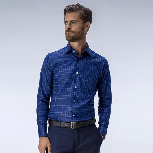 Uformell blå dresskjorte med ruter