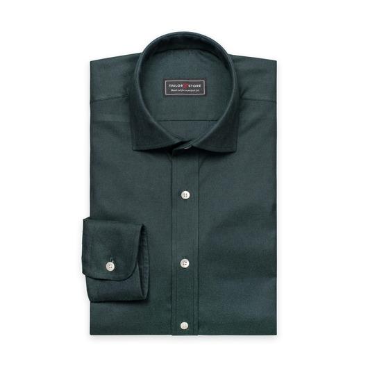 Mörkgrön flanellskjorta med cut-away classickrage