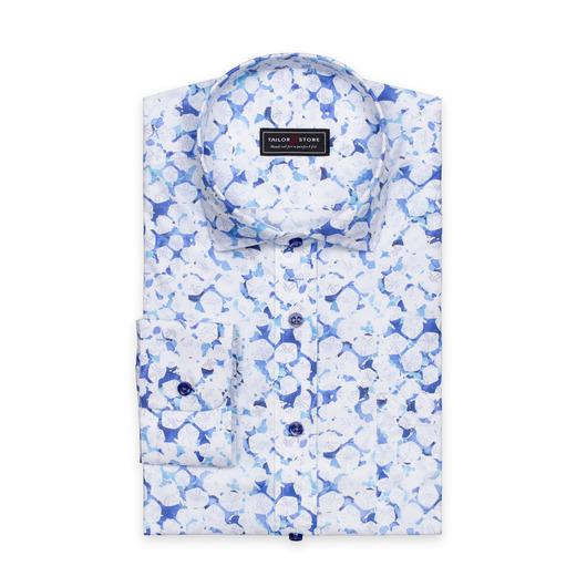 Chemise à imprimés bleus et blancs en coton