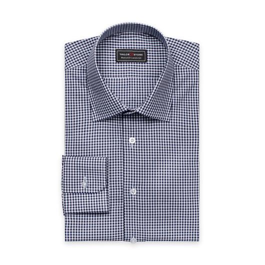 Chemise en popeline à carreaux avec un col business superior Blanc/Bleu