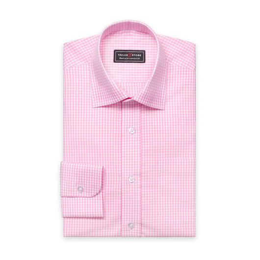 Hvid/Pinkternet poplinskjorte