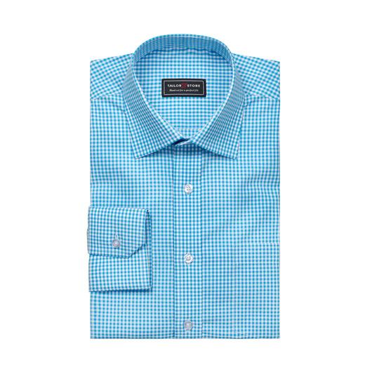 Chemise à carreaux en popeline Blanc/Turquoise