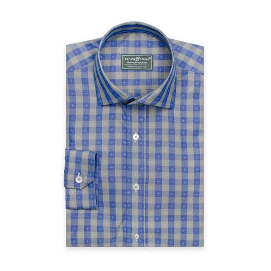 Blå/grøn ternet skjorte i økologisk bomuld