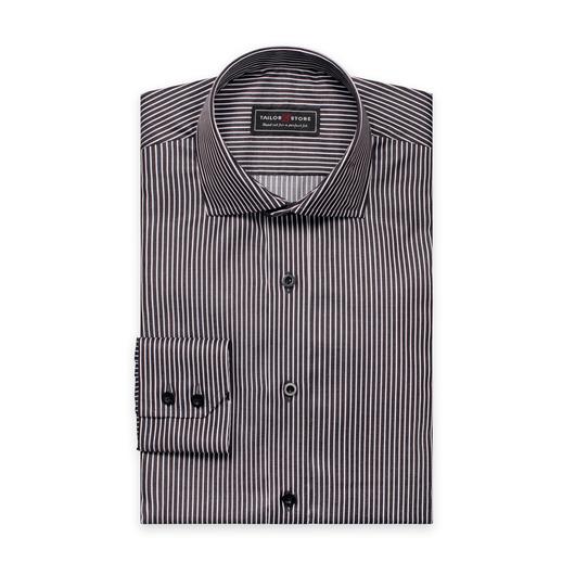 Zwart/Wit gestreept twill overhemd