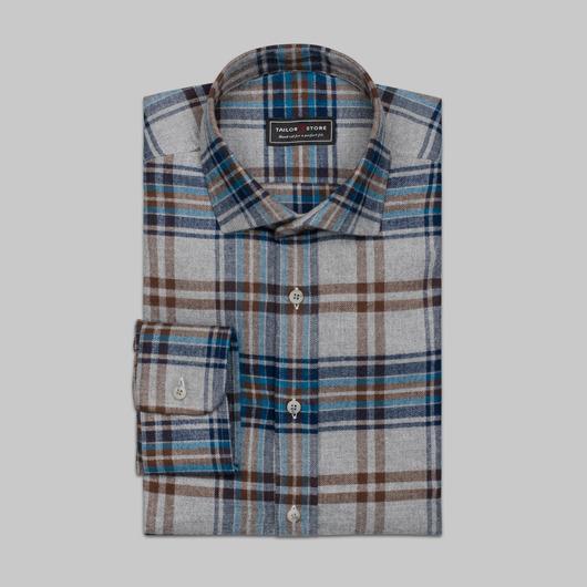 Chemise à carreaux  flanelle en bleu et gris