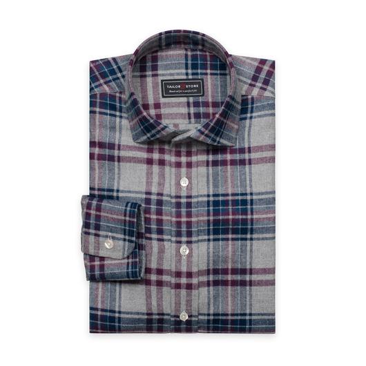Vinröd/grårutig flanellskjorta med cut-away classic krage
