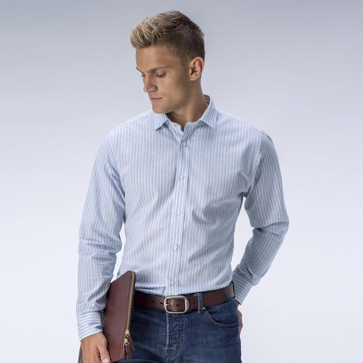 Striped light blue dress shirt<br>