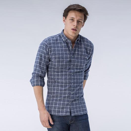 Chemise grise à carreaux en flanelle sur mesure
