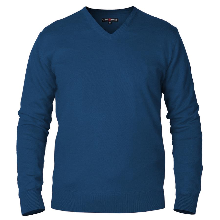 Belmon - pull en coton pima à col en V en bleu