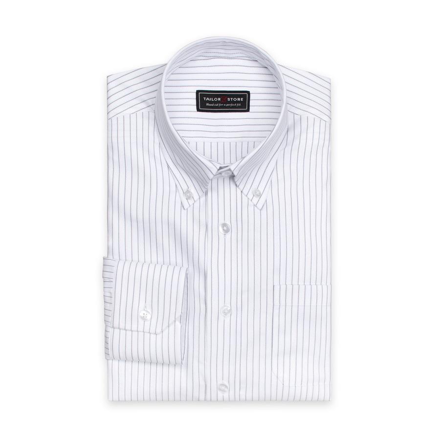 Hvid/Sort stribet skjorte i økologisk bomuld