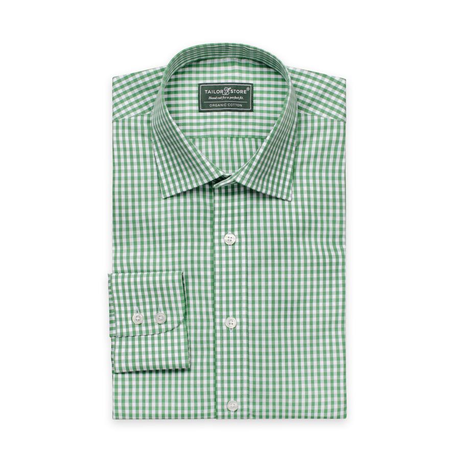 Hvid/Grønternetskjorte i økologisk bomuld